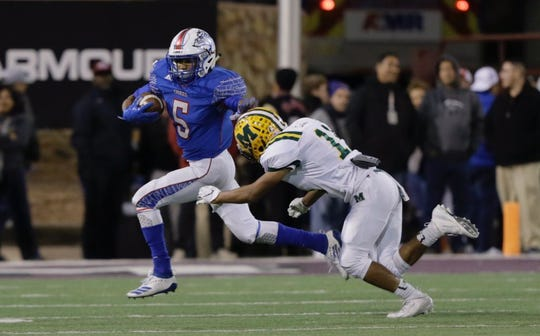 Mayfield faced Las Cruces High in their annual rivalry game at Aggie Memorial Stadium on Friday, Nov. 1, 2019 in Las Cruces, N.M.