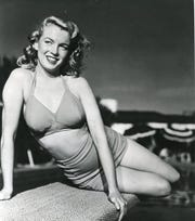 Early publicity photo of Marilyn Monroe taken at the Racquet Club in Palm Springs in 1947.