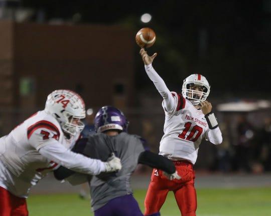 Palm Springs quarterback Isaiah Goad throws against Shadow Hills, November 1, 2019.