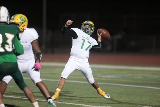 Coachella Valley's quarterback Jacob Calderon throws a long pass during the first half of the game in Banning on Friday, November 1, 2019.
