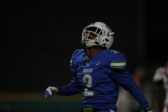 UWF linebacker Andre Duncombe (2) celebrates a sack during the Argos' game against North Greenville at Blue Wahoos Stadium on Nov. 2, 2019.