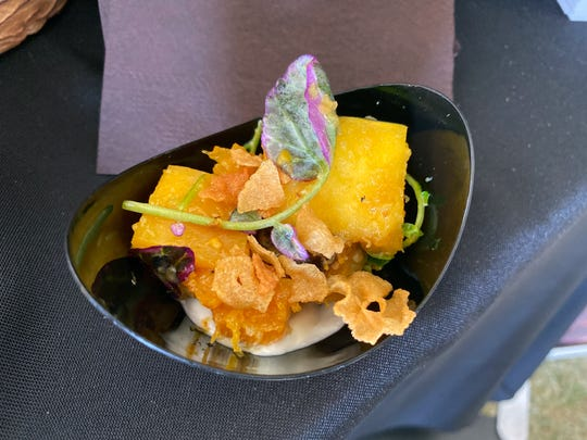 Warm roasted squash salad with whipped feta and garlic chips from Mowry & Cotton at the 2019 azcentral Wine & Food Experience at Salt River Fields near Scottsdale.
