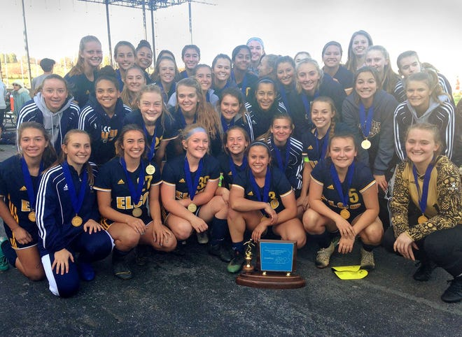 The Elco girls soccer team celebrates its second straight District 3 2A title after beating Boiling Springs in penalty kicks in the title match last Saturday at Hersheypark Stadium. The Raiders bowed out of the state playoffs in the second round on Saturday with a 2-1 loss to Lansdale Catholic.