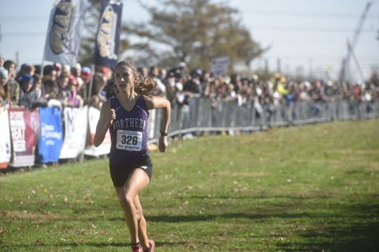 Northern's Marlee Starliper races to a first place finish at the PIAA State Cross Country Championships on Saturday, November 2nd in Hershey.
