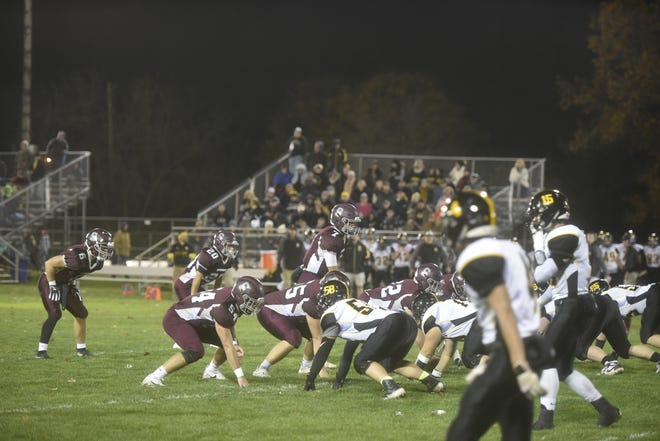 Zack Manning lines up his Shippensburg offense against Solanco on Friday, November 1 at Veterans Stadium.