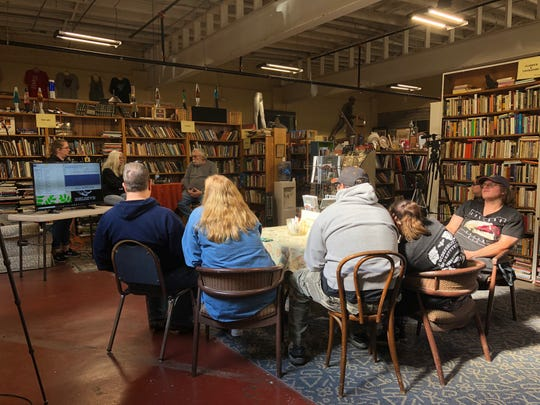 "A small group gathers in The York Emporium used bookstore, in York City, during ""Horrible Saturday,"" on Saturday, Nov. 2 to hear from the Dover Paranormal Research Team."