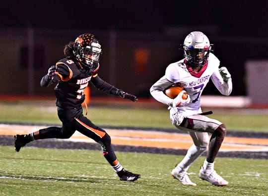 New Oxford's Abdul Janneh, right, led the York-Adams League in receiving yards.