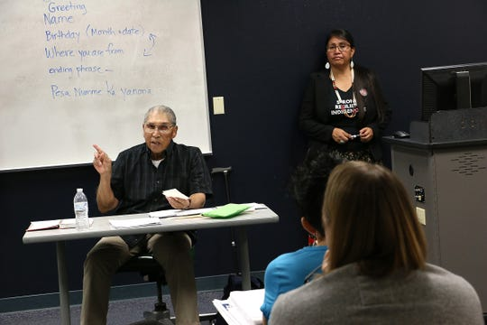 Pyramid Lake Paiute elder Ralph Burns teaches the first ever Paiute language class at the University of Nevada, Reno on Oct. 14, 2019. Seen to Burns' right is his daughter Jennie Burns, who assists in teaching the class at UNR.