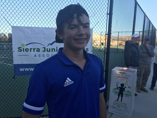 Reno freshman Brody Friedman beat his teammate, Jeffrey Rinehart, 4-6, 6-4 (10-7) for the boys singles championship.