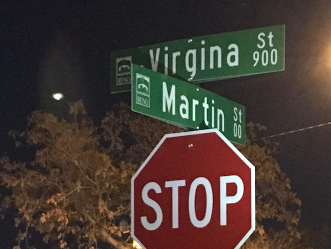 The city of Reno misspelled Virginia Street on new signs installed as part of the Midtown reconstruction project.