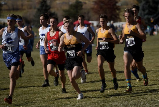Galena's Matthew Gordon (80) is seen early in the race during the boy's 4A NIAA Northern Region cross country finals at Rancho San Rafael Regional Park in Reno on Nov. 2, 2019.