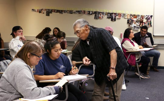 Pyramid Lake Paiute elder Ralph Burns teaches the first ever Paiute language class at the University of Nevada, Reno on Oct. 14, 2019.