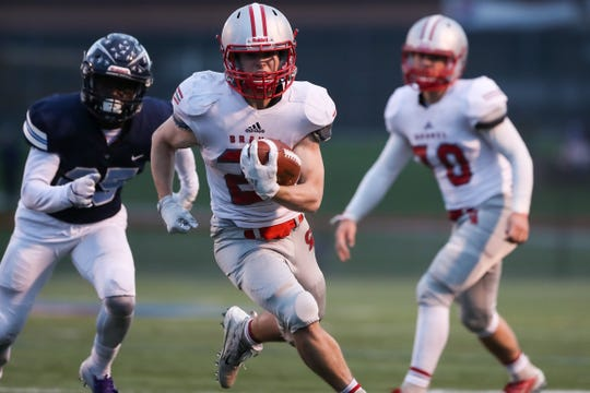 Junior Dom Comella leads Canandaigua with 872 yards rushing this season. Canandaigua, which plays Carthage in the state Class A semifinals on Friday night, has three backs with more than 400 yards on the ground this season.