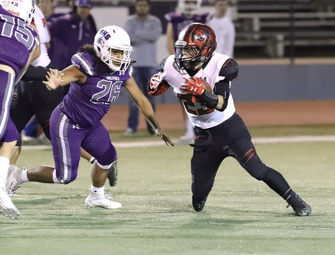 The Shasta Wolves beat the Foothill Cougars 50-21 on Friday, Nov. 1, 2019, to win the new SUHSD football trophy.