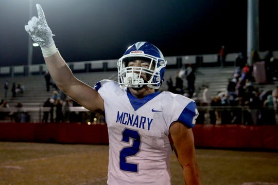 McNary's Junior Walling celebrates his team's victory following the McNary vs. South Salem football game at South Salem High School on Nov. 1, 2019. McNary won the game 35-15 to earn their second conference championship in a row.