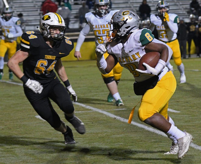 Calvary running back Isaiah Brown (8) heads toward the end zone for one of his four scores against Haynesville in a District 1-1A contest Friday at Red Franklin Memorial Stadium.