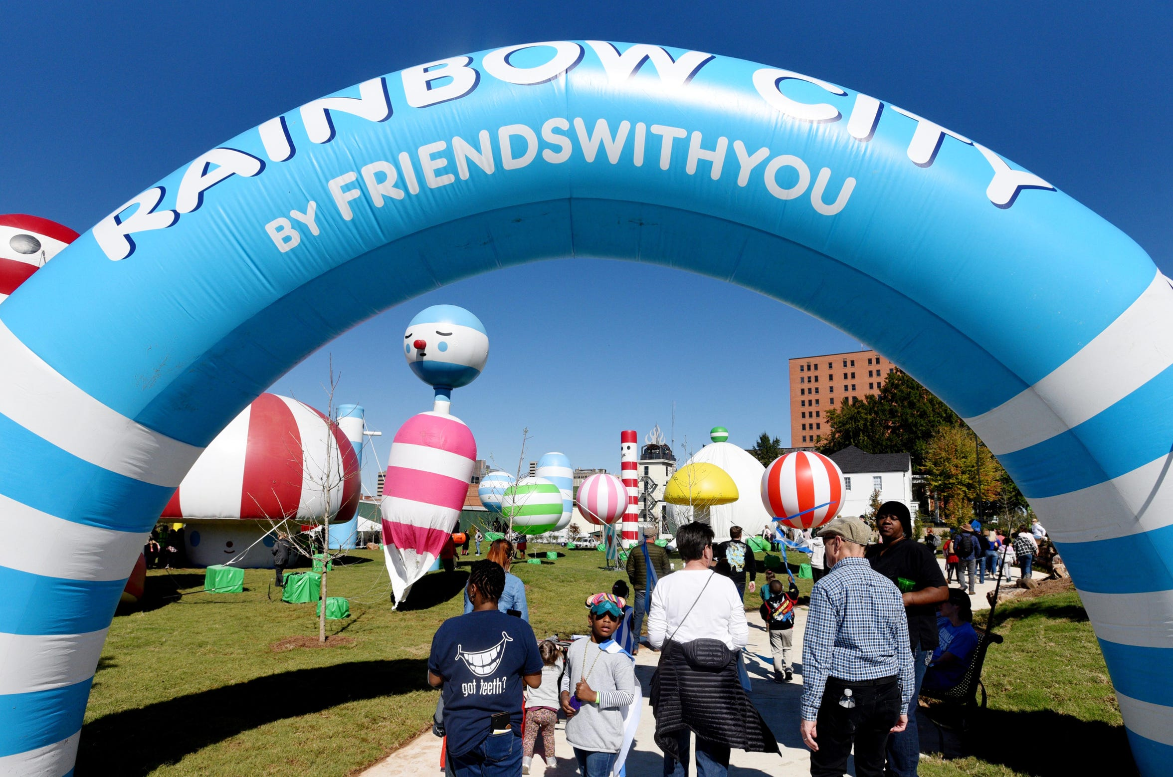 "The FriendsWithYou Rainbow City Parade, featuring a new inflatable character named ""Gumball,"" designed by Bossier Parish student Isaiah Roberts Saturday November 2, 2019."