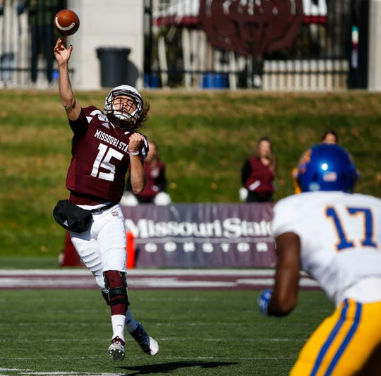 Missouri State quarterback Peyton Huslig makes a pass to a reciever as the Bears take on the South Dakota State Jackrabbits at Plaster Field in Springfield, Mo. on Saturday, Nov. 2, 2019.