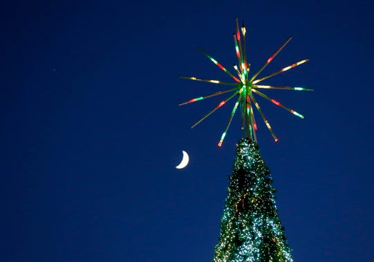 Silver Dollar City unveiled a new 80-foot Christmas tree adorned with LED lights that will be the centerpiece of their annual Christmas festival on Friday, Nov. 1, 2019.