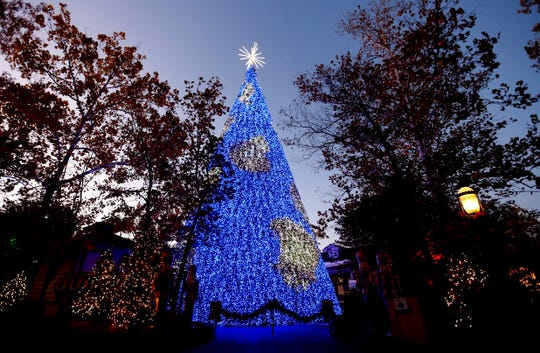 Silver Dollar City unveiled a new 80-foot Christmas tree adorned with LED lights that will be the centerpiece of its annual An Old Time Christmas festival on Friday, Nov. 1, 2019.