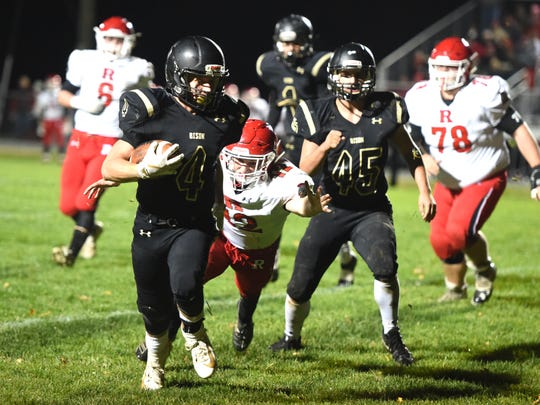 Buffalo Gap's Tucker Kiracofe works his way toward the end zone on a two-point conversion play Friday night.