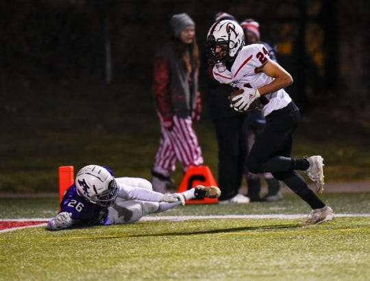 Pierz running back Matthias Algarin scores a first half touchdown in the Section 6-3A title game against Albany Friday, Nov. 1, 2019, at Husky Stadium.
