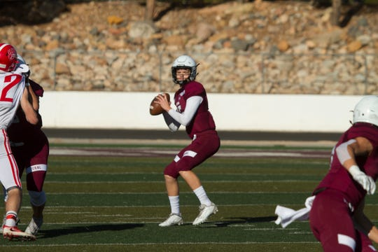 Pine View quarterback Macloud Crowton throws against Bear River Friday, Nov. 1, 2019.