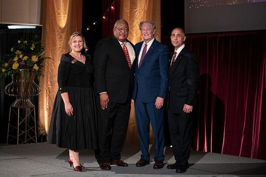 (L-R): FSU Alumni President Julie Cheney; Melvin Stith; FSU President John Thrasher and FSU Alumni Board chair, Sam Ambrose