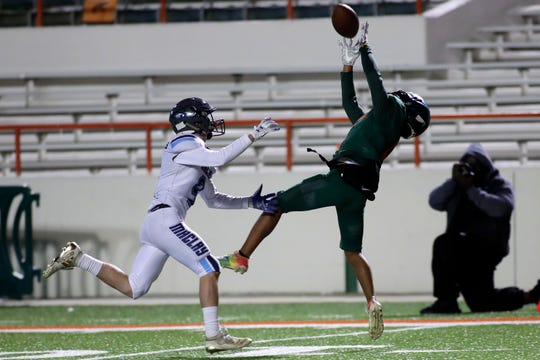 FAMU DRS receiver Aaron Simmons makes a leaping catch as the Rattlers upset Maclay 50-13 at Bragg Memorial Stadium on Friday, Nov. 1, 2019.