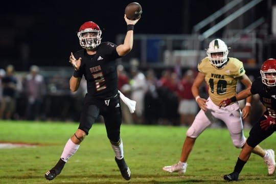 Vero Beach quarterback Ryan Jankowski throws a pass against Viera on Nov. 1, 2019.