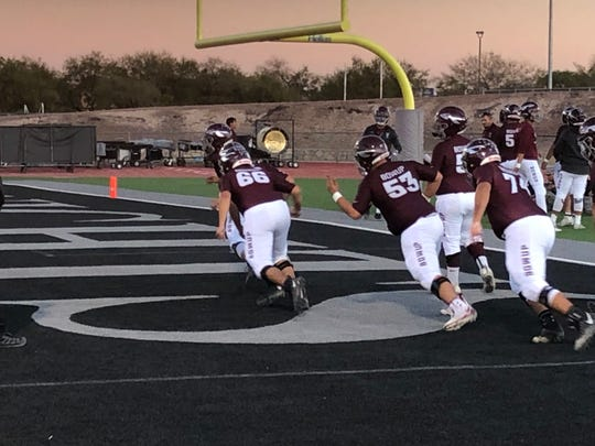Ysleta warms up before their game at Hanks Friday night