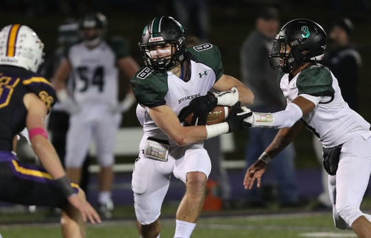 Yorktown defeated John Jay (CR) 20-7 in the Section 1 Class A semifinal playoff football game at John Jay High School in Cross River Nov. 1, 2019.