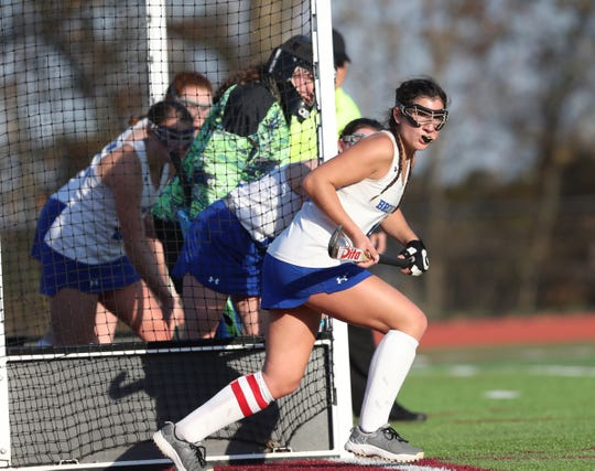Sunday Ladas and other Broncos defend the Bronxville goal during a North Salem penalty corner during the Nov. 2, 2019 Section 1 Class C field hockey championship game, which Bronxville won 2-0.