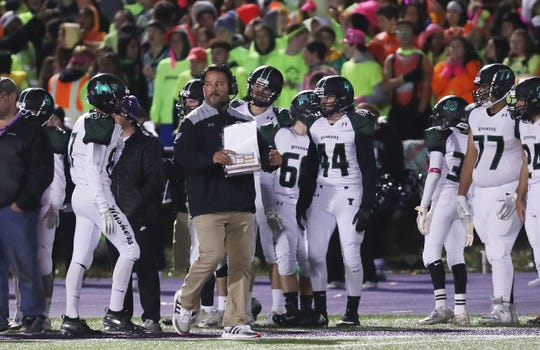 Yorktown defeated John Jay 20-7 in the Section 1 Class A semifinal playoff football game at John Jay High School in Cross River Nov. 1, 2019. It was Mike Rescigno's 100th win at Yorktown.