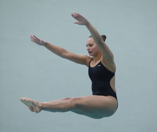 Scarsdale's Maddie Seltzer competes in the Section 1 diving championships at SUNY Purchase in Purchase on Friday, November 1, 2019.