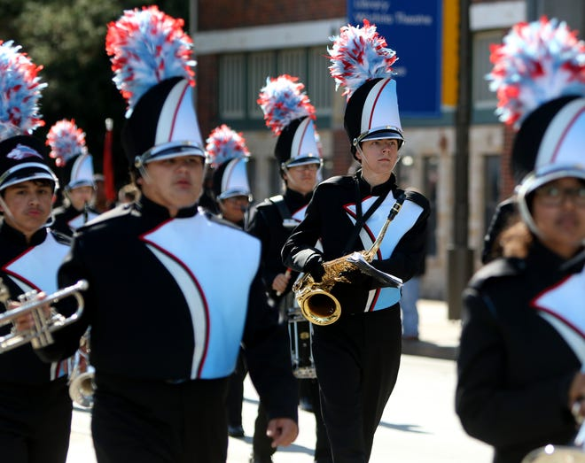 The Hirschi band marches Saturday, Nov. 2, 2019, at the Veterans Day Parade in downtown Wichita Falls.