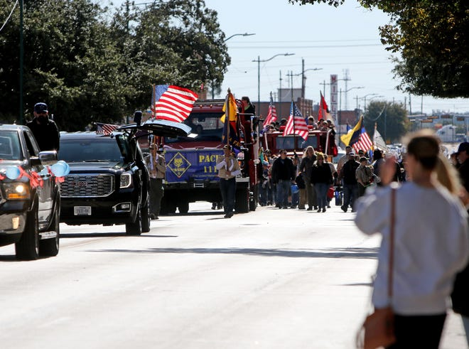 In this 2019 photo, the annual Veterans Day Parade goes through downtown Wichita Falls Saturday, Nov. 2, 2019. The North Texas Veterans Council announced the event is canceled for 2020.