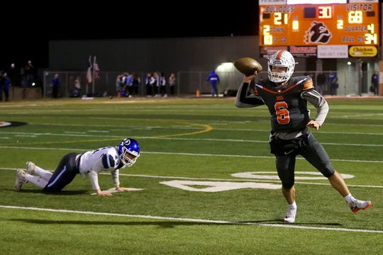 Burkburnett's quarterback Mason Duke throws the off balance pass against Decatur Friday in Burkburnett.