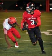 Wichita Falls High's Tre McKenzie (3) runs up the sideline against Plainview Friday night at Memorial Stadium.