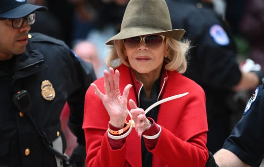 Actress and activist Jane Fonda is arrested by Capitol Police during a climate protest inside the Heart Senate office building on Nov. 1, 2019 in Washington, DC.