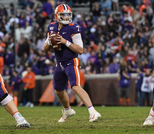 Clemson quarterback Chase Brice (7) fades back to pass against Wofford during the fourth quarter at Memorial Stadium in Clemson, South Carolina Saturday, November 2, 2019.