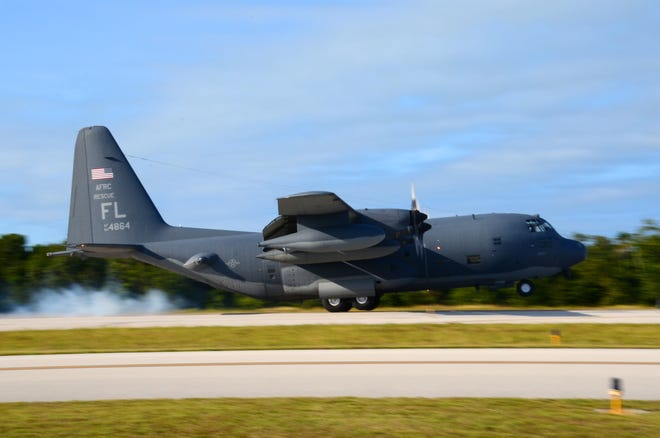 U.S. Airmen from the 39th Rescue Squadron, Patrick Air Force Base, Fla., pilot an HC-130P/N King aircraft in search and rescue competition at Marathon Key, Fla., against Royal Canadian Airmen from the 435 Squadron, Manitoba, Canada.
