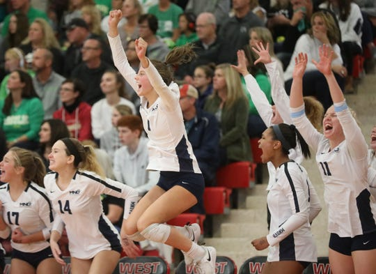 Mount Notre Dame bench reacts during their regional final against Ursuline, Saturday, Nov. 2, 2019.