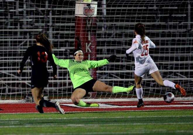 Loveland goal keeper Eva Dudek can't block the scoring shot by Lakota West midfielder Kailyn Dudokovich in the girls regional soccer finals at Princeton High School Nov. 2, 2019.