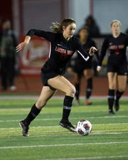 Lakota West midfielder Kailyn Dudukovich heads up the field in the girls Regional Soccer Finals at Princeton High School Nov. 2, 2019.