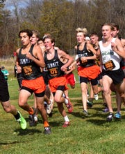 Team Summit is off on the trail in the Division III boys race at the 2019 OHSAA State Cross Country Championships, November 2, 2019.