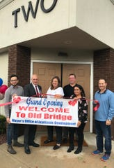 Mayor Owen Henry and Steve Mamakas, executive officer of the Mayor's Office of Economic Development, welcomed Old Bridge Marriage and Family Therapy, with owner Ellen Gregory, to the community with grand-opening ribbon-cutting ceremony on Oct. 27.