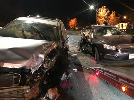 Multiple vehicles were involved in a wreck in Des Moines on Saturday.
