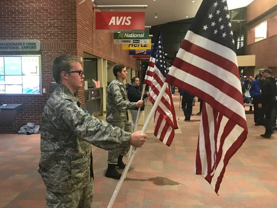 A color guard detail greets veterans that traveled with the Detroit Lions to Washington on Saturday, Nov. 2, 2019.