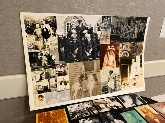 Old family photos were displayed in the Michigan Conference Room at the Detroit Marriott in Livonia on October 20 of the Dumas and Corwin family during their family reunion.